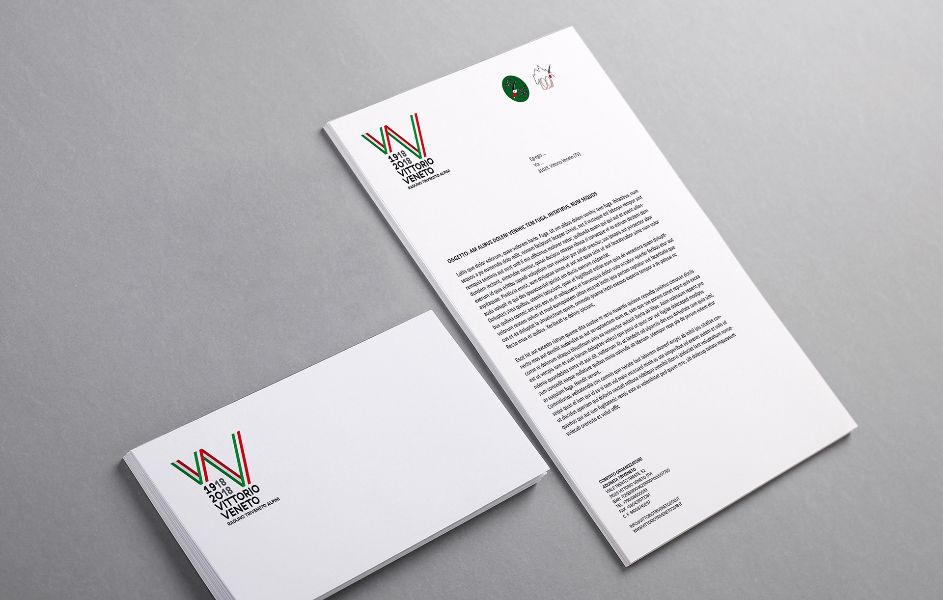 Immagine coordinata carta intestata Raduno Triveneto Alpini | Kora Comunicazione