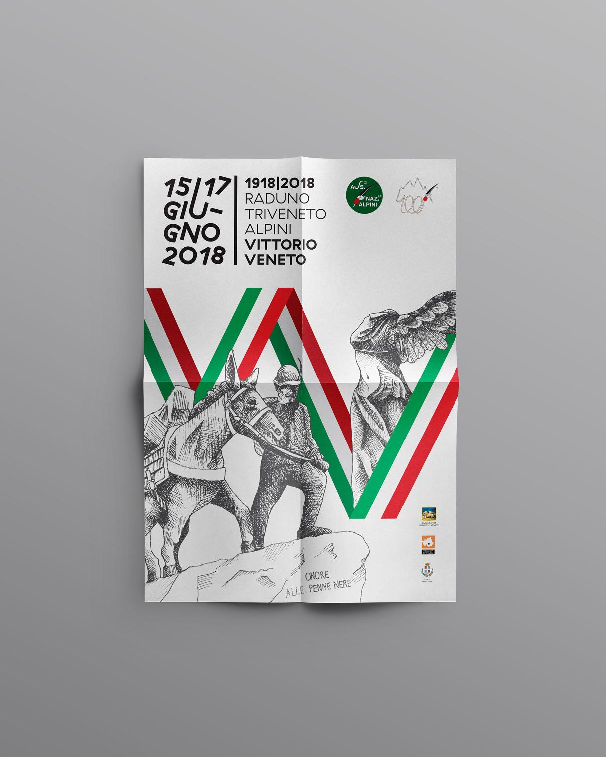 Immagine coordinata manifesto Raduno Triveneto Alpini | Kora Comunicazione