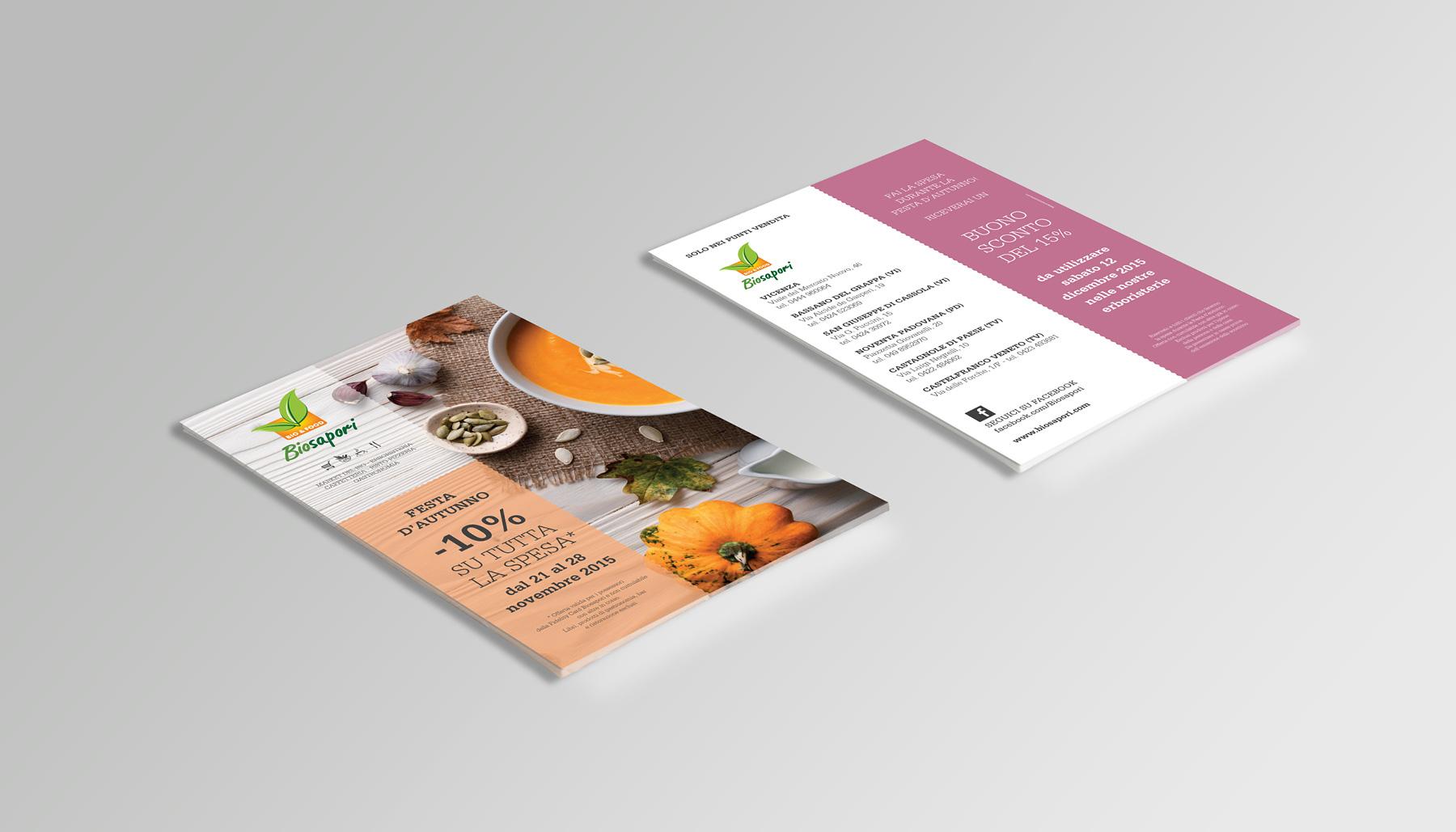 Progettazione grafica flyer Biosapori | Kora Comunicazione