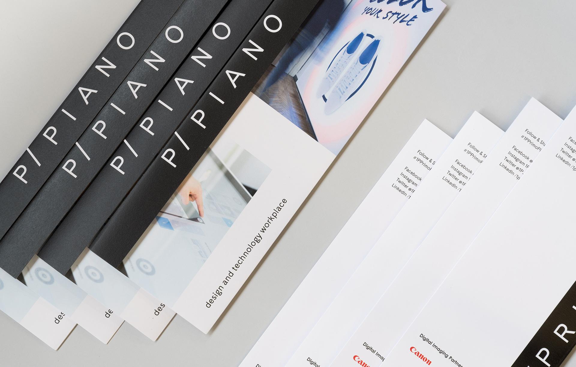 Progettazione grafica pieghevole showroom 1P/Primo Piano | Kora Comunicazione