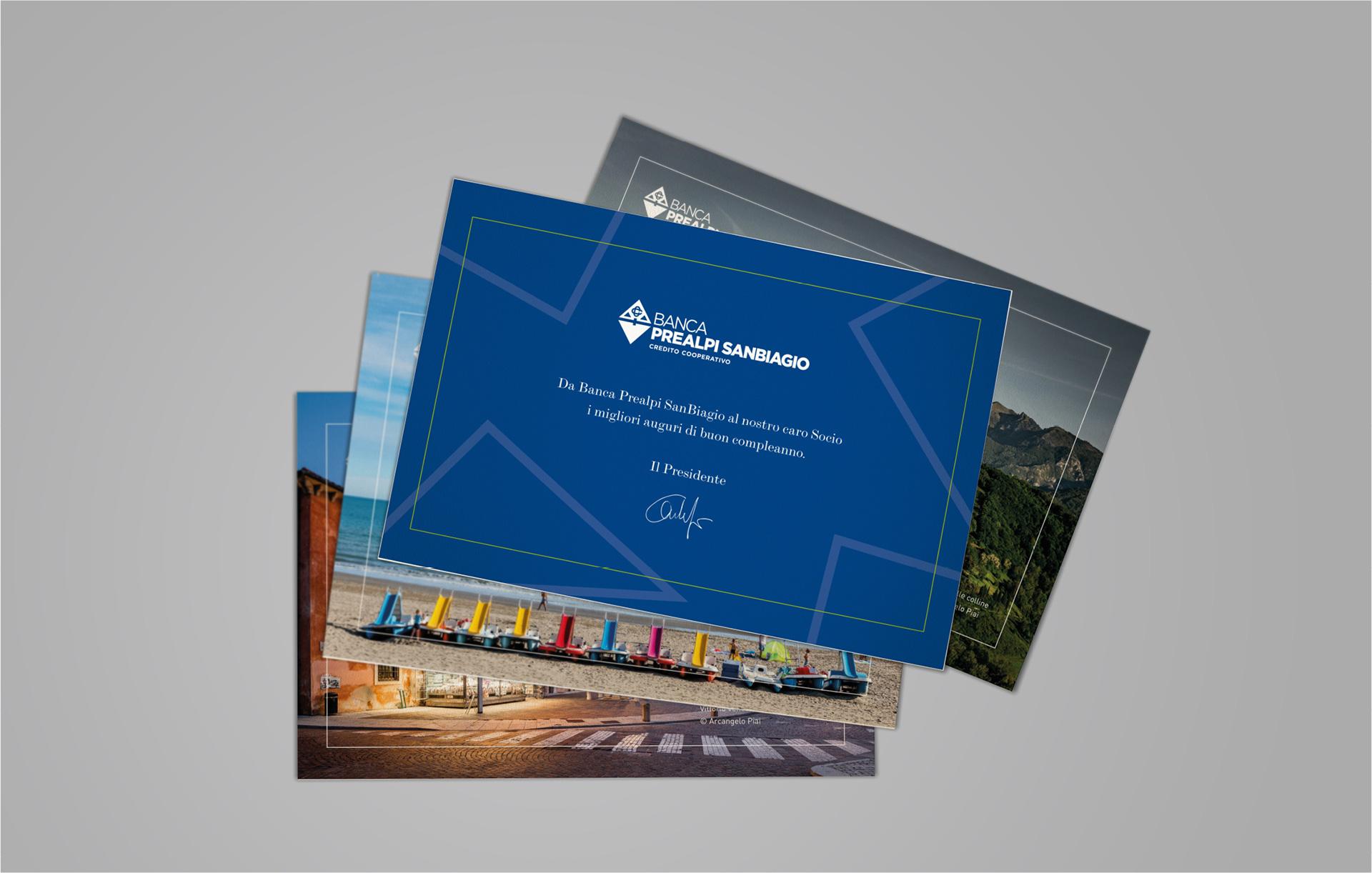 Progettazione grafica cartoline Banca Prealpi SanBiagio | Kora Comunicazione